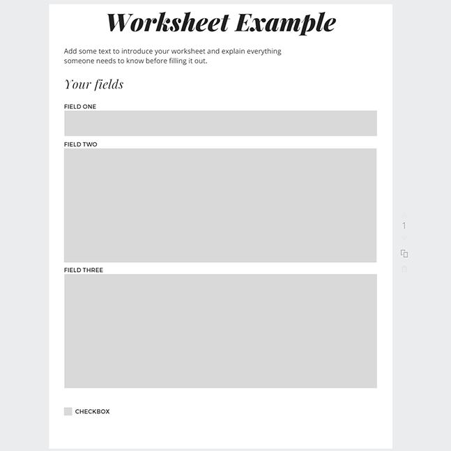 Designing a worksheet in Canva