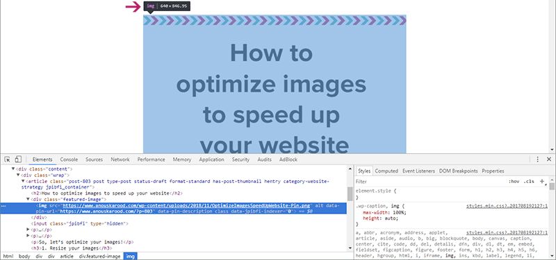 Use Inspect Element to find out the image size for your blog posts