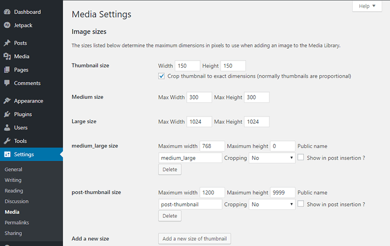 The Simple Image Sizes plugin adds all images sizes from themes & plugins to your Media Settings page