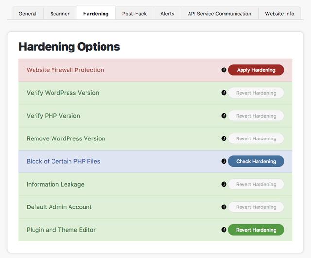 Sucuri: Hardening Options