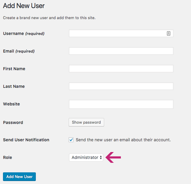 WordPress: Add New User screen